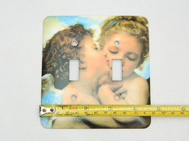 Metal Cherubs Angels Kiss Double Switch Light Outlet Plate Cover  - $17.77