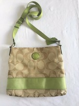 Coach File Bag Signature Canvas Crossbody Messenger Bag Khaki/Green Excellent - $33.66