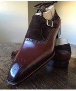 Men Handmade Brogue Single Strap Monk Shoes, Two Tone Leather & Suede Shoes - $179.97+