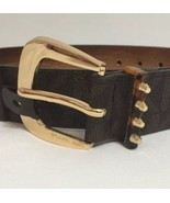 MICHAEL KORS BELT BROWN MK LOGO PRINT WITH GOLD BUCKLE WITH STUDDED LOOP - $38.50