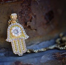 Small 18k Gold Hamsa Pendant With Lab Simulated Diamond Center Necklace - $299.99