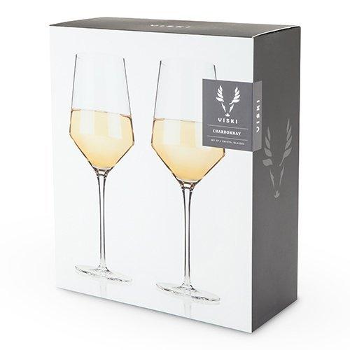 Glass Wine Glasses, Raye Crystal Chardonnay Insulated Clear Wine Glass, Set Of 2