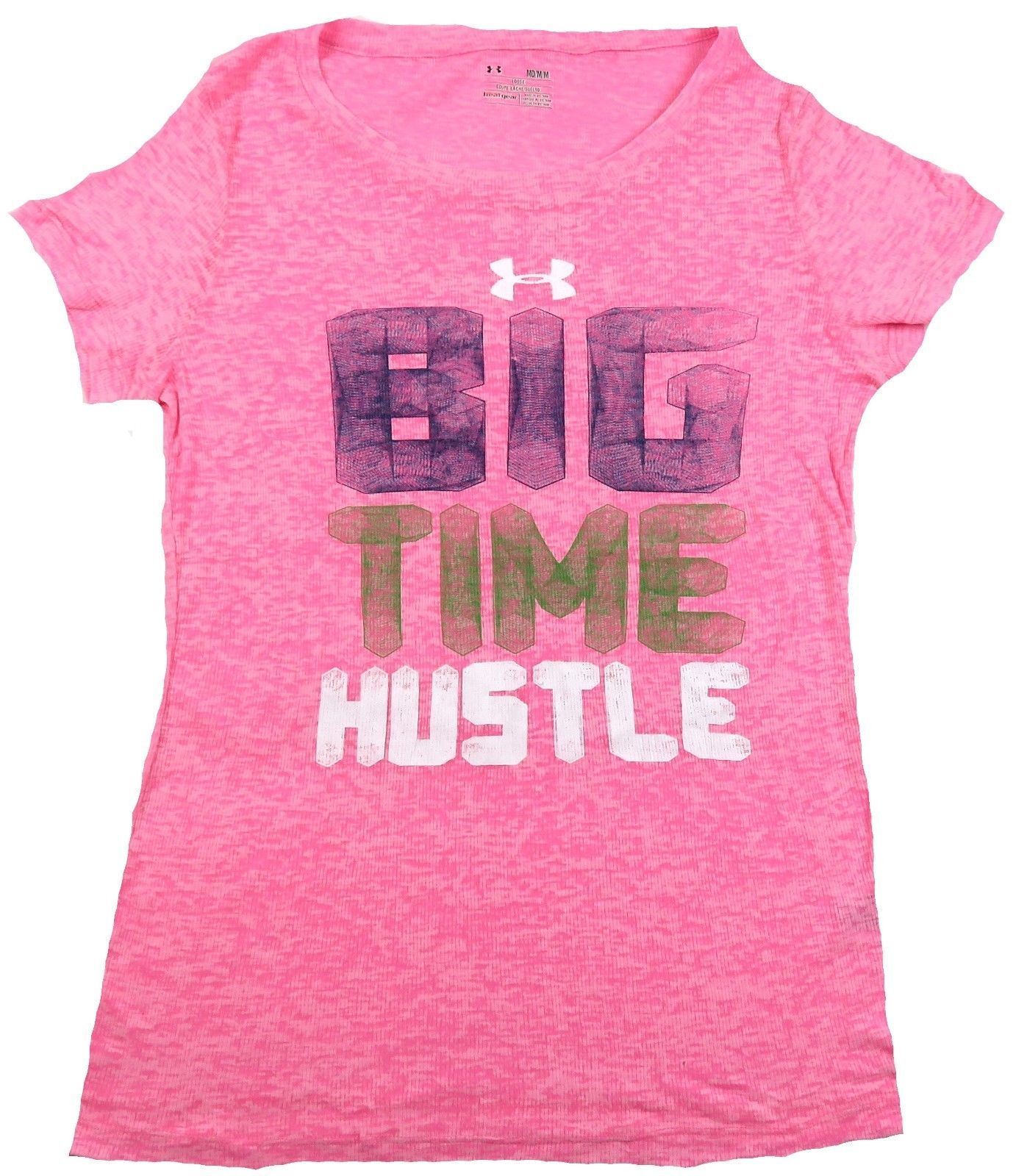 Women's Under Armour Shirt Loose Heat Gear Tee Slub Pink Big Time Hustle NEW