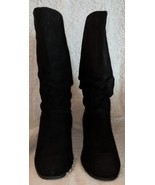 St John's Bay Genuine Leather Mid Calf Black Boots 8 1/2 M - £84.28 GBP