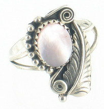 Old Pawn Navajo Sterling Sam Roanhorse Pink Mother Of Pearl MOP Feather ... - $140.39