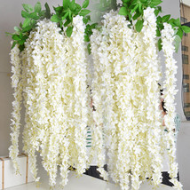 Hanging flowers 5pcs for outdoor wedding ceremony decor silk wisteria vine wedding arch thumb200