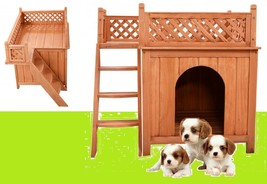 Wooden Kennel Balcony Dog House Living House Confidence Pet Ladders Rela... - $89.00
