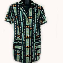 Goldwappen Bugelfrei Women Size 8 Tunic Black Floral Short Sleeve German... - $19.77