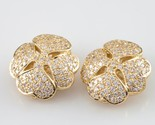 14k Yellow Gold Large Four Leaf Clover Pave Diamond Clip-On Earrings TDW = 2.5ct