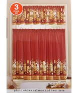 KITCHEN CURTAIN SET 3pc Mediterranean Olives Olive Oil Herbs Red Tiers V... - $18.99
