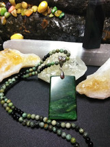 Natural GemStone Green Jasper Pendant Necklace with Obsidian Healing - $24.26