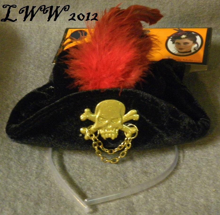 Black Halloween Mini Pirate Hat with Headband Adult Women's Steampunk Gothic