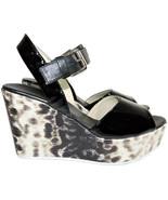 Agl Attilio Giusti Leombruni Black Patent Slingback Wedge Sandals Shoes ... - $135.99