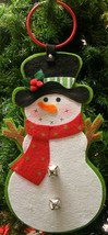 SNOWMAN DOOR HANGER w/ JINGLE BELLS CHRISTMAS DECORATION - $10.88