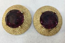 Clip On Earrings Purple Faceted Stones Gold Tone Metal Pair Vintage Roun... - $14.84