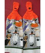 Brand New Crocheted Top Hanging Kitchen Towels Halloween Pets - $5.00