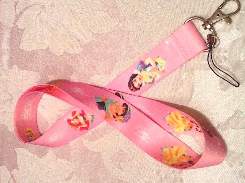 Pretty Disney Princesses Pink Lanyard Strap One Piece Cell Phone Key Chain NEW
