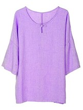 Minibee Women's Elbow Sleeve Linen Tunic Tops Solid Color Retro Blouse Purple 2X - $28.33
