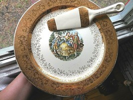 Homer Laughlin Victorian Couple 22k Gold Trim Cake Plate and Serving Ute... - $18.81
