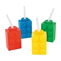 Color Building Brick Party Molded Cups with Straw & Lid (8 Count)  - $15.19