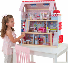 Wooden Dollhouse Doll House Cottage Kids 16-Piece Furniture Set Girls Pl... - $112.78