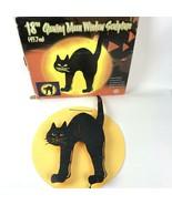 "Halloween 18"" Glowing Moon Lighted Sculpture Black Cat Green eyes w/Box  - $49.49"