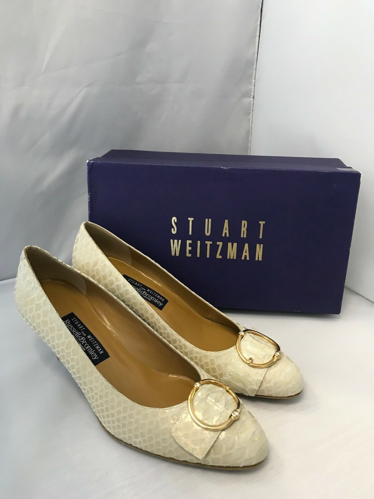 Stuart Weitzman Russell Bromley Ladies Snake Print Buckle Court Shoes UK 7 US 9