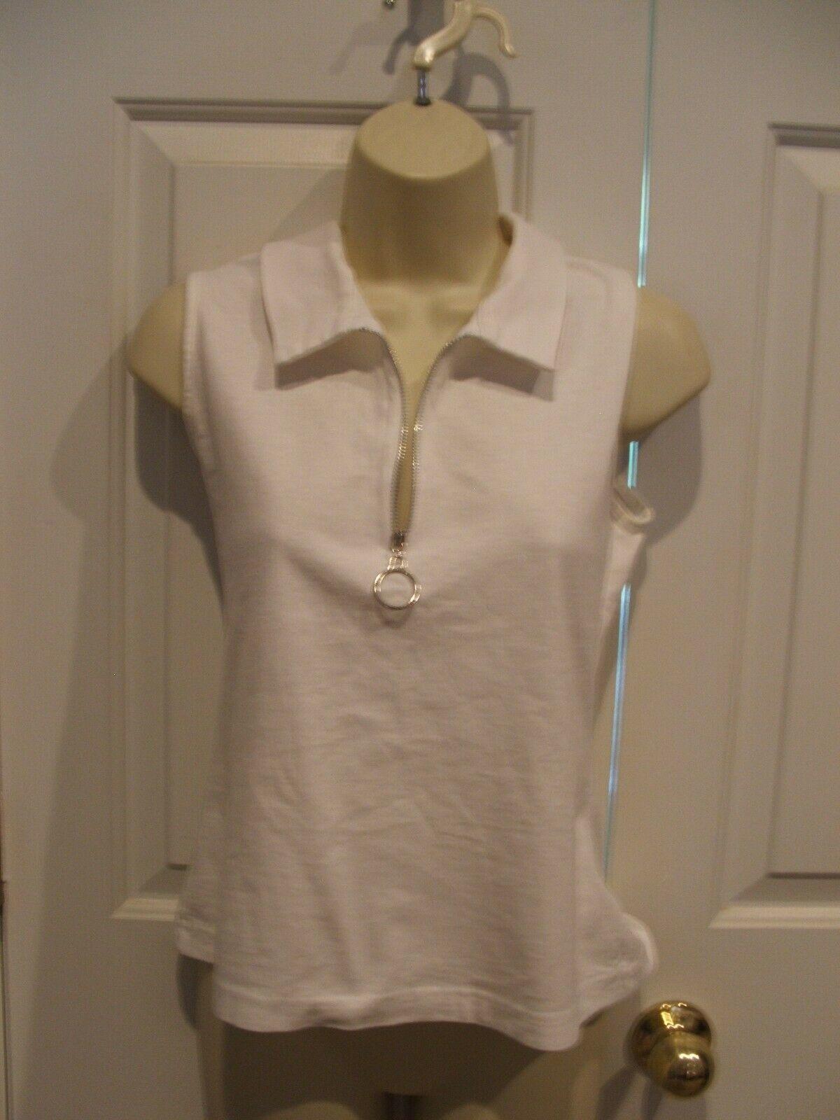 NEWPORT NEWS ZIPPER FRONT 100% cotton sleeveless shirt blouse top medium - $1.98