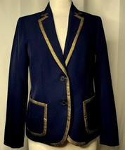 ANNE KLEIN Sz 6 Navy 2 Button Lined Blazer Jacket Gold Metallic Detail F... - $24.49