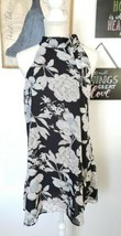 Black Floral Print Short Shift Dress Size M Side Bow Tie Neck Sleeveless - $11.88