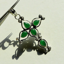 Beautiful Green Onyx Gemstone silver Cross pendant German silver pendant... - $3.12
