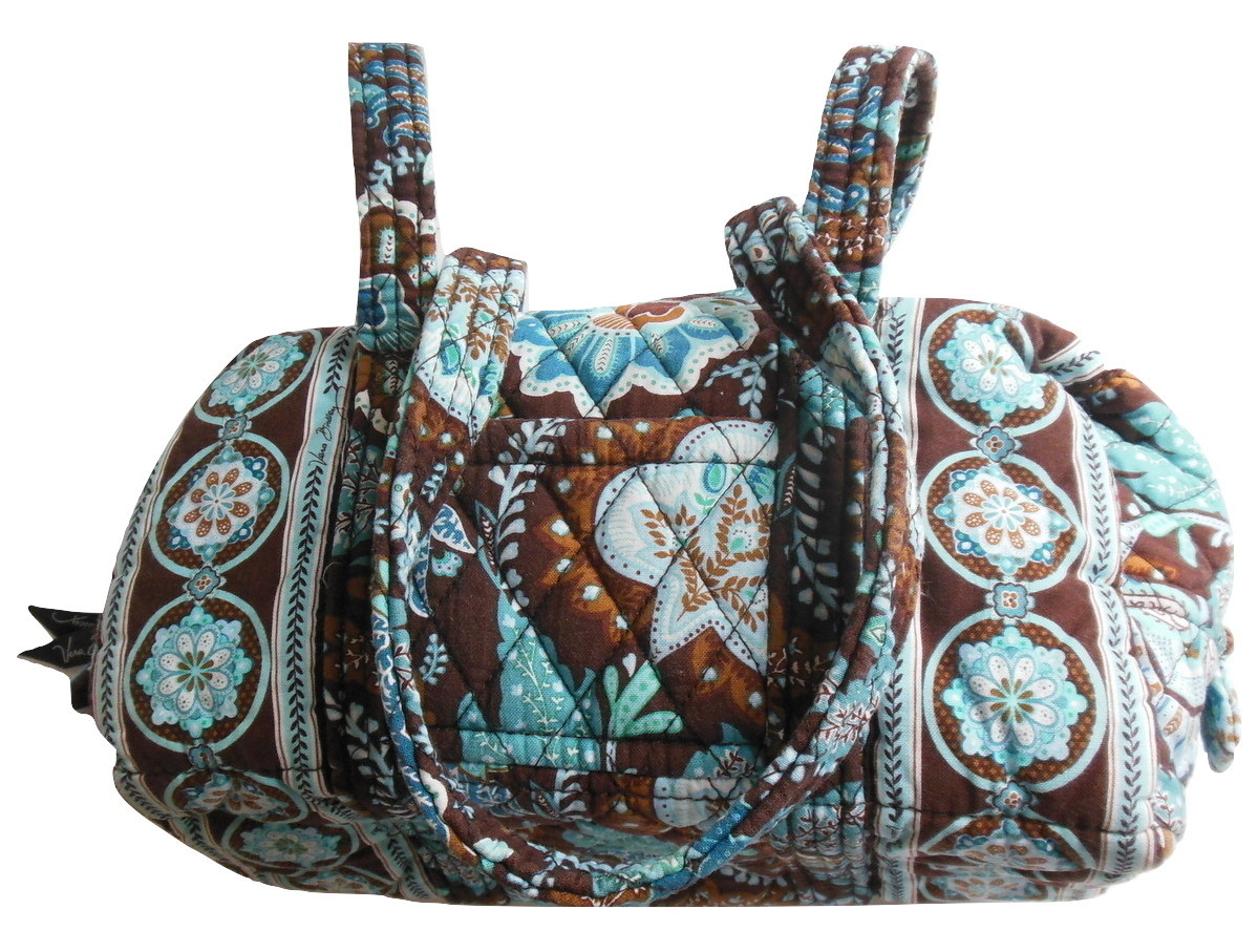 244769c70 Img 5120655861 1511813139. Img 5120655861 1511813139. Previous. Vera Bradley  Java Blue Handbag Bag Purse Double Strap Handles Brown Cotton
