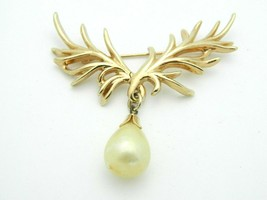 Napier Faux Pearl Gold Tone Abstract Branch Dangle Vintage Pin Brooch - $19.79