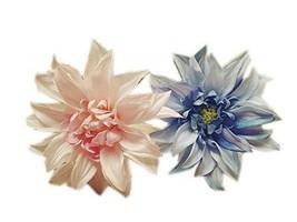 Pink & Blue African Daisy Hair Pins Wedding Hair Clips