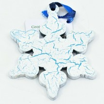 Handcrafted Winter Snowflake Snow Recycled Wood Craquelure Painted Ornament image 2