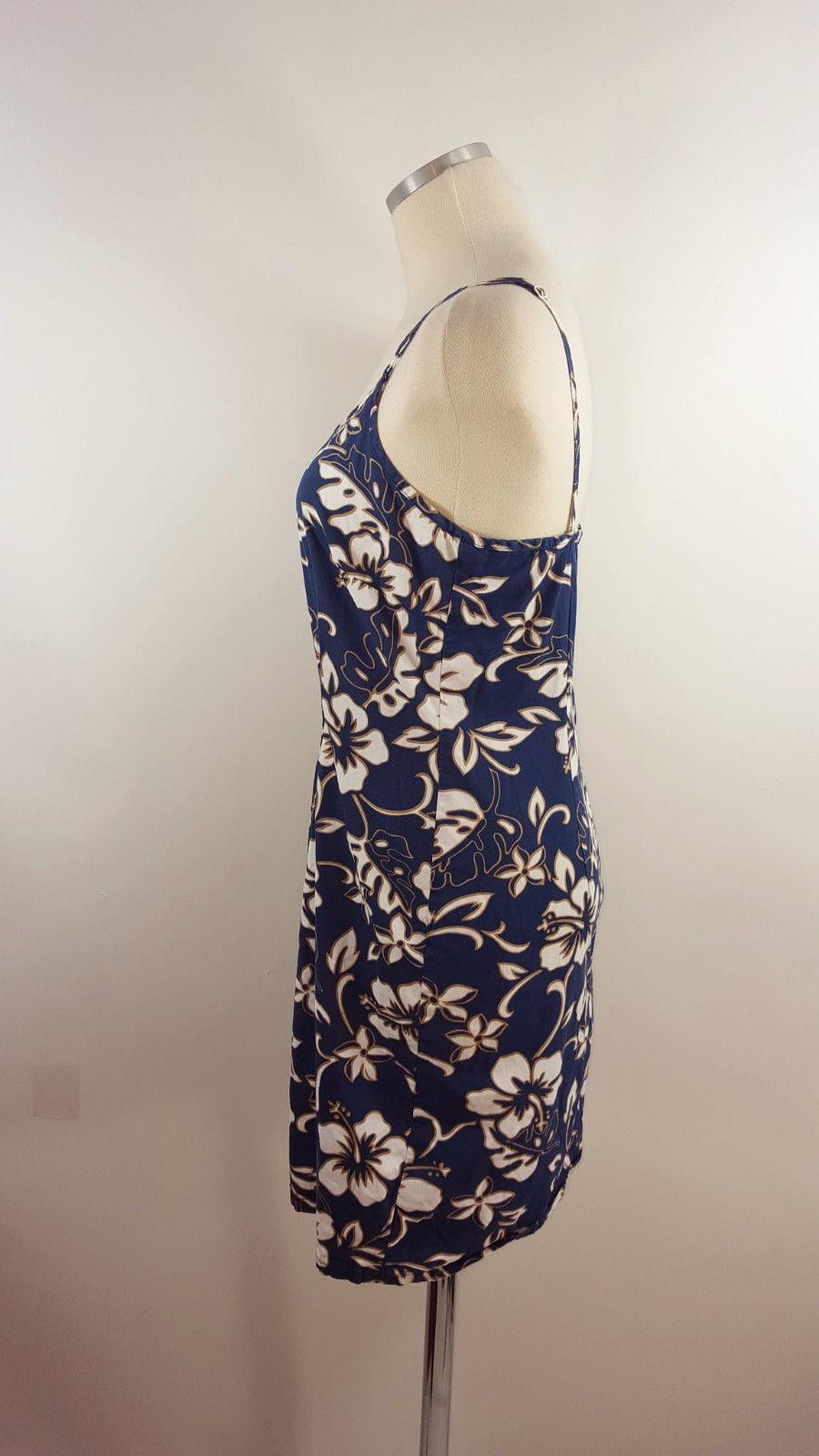 Hilo Hattie Sz Sm Navy Blue Floral Short Hawaiian Dress