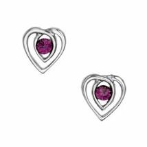 Celtic Heart Sterling Silver Stud Earrings with Amethyst - $29.72