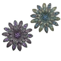 Lot Of 2 Vtg Enamel Gerber Daisy Brooch Pendant Silver Tone Green Purple... - $18.66