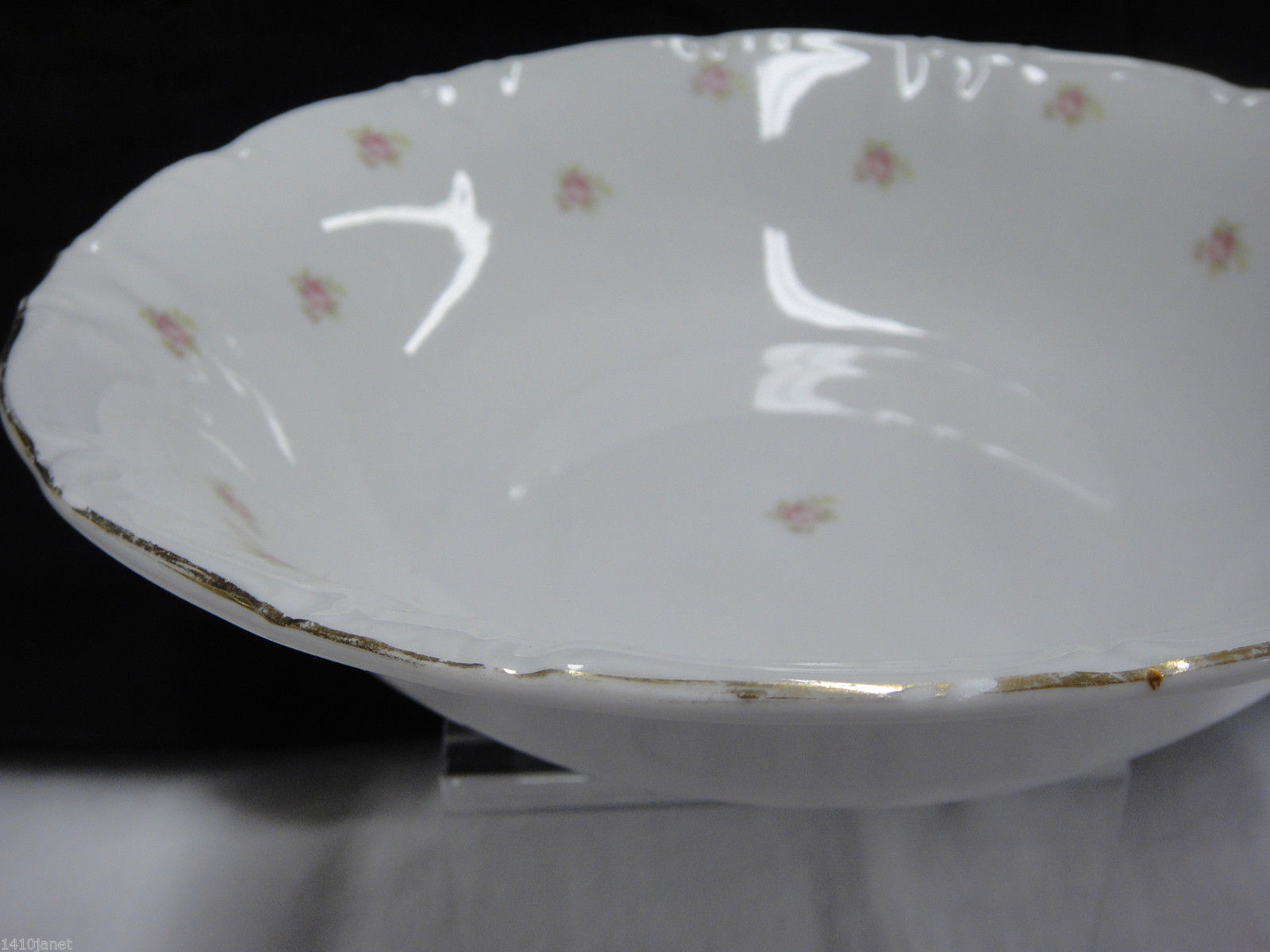 "Vintage Winterling Rosedot 9"" Round Vegetable Serving Bowl Pink Roses Bavaria image 4"
