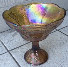 Marigold Carnival Glass Grape & cable bowl 8.5 inches X 8 inches across - $7.92