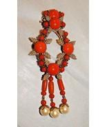"Huge Stanley Hagler Orange Glass, Seed Beads, and Faux Pearl Brooch 5.5""... - $199.99"