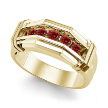 Red Garnet Mens Wedding Anniversary Band Ring 14k Gold Finish 925 Solid ... - $86.99