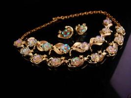 Vintage Coro Parure - iridescent flowers - Bracelet necklace & clip on e... - $85.00