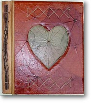 Leaf Notebook Journal Hand Crafted Bali Heart Design Natural New - $12.20