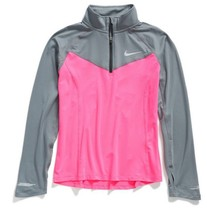 Nike Girls' Element Half-Zip Long-Sleeve Running Top, Pink/Gray , Size XS - $27.71