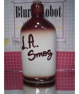 "Novelty Jug California Souvenir  ""L.A. Smog"" Stoneware Flask with Cork - $14.40"