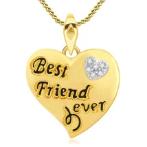 Round Cut CZ 14k Gold Plated 925 Silver Womens Best Friend Ever Pendant W/ Chain - $43.55