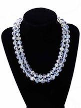 Vintage Aurora Borealis Rock Crystal Necklace Dbl Strand 1950S - $155.00