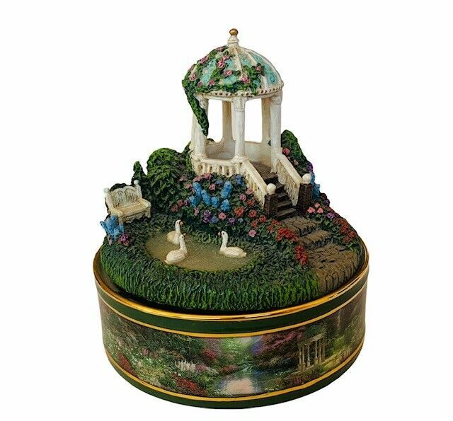 Thomas Kinkade Music Box Garden Serenity Prayer AA peaceful moments figurine vtg - $38.65