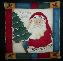 Handmade Primitive Santa Country Holiday Christmas Kitchen Pot Holder  - $9.49